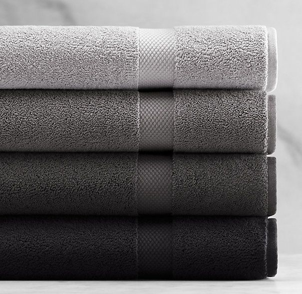 "802-Gram Turkish Towel Pewter Collection in Pewter, Iron, Charcoal & Onyx -- washcloth $9, hand towel $18, bath towel $28 / bath sheet $54, bath mat 19"" x 31"" $26."