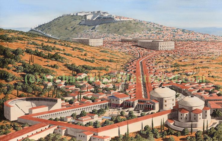 Pergamon, wealthy ancient greek city in today's western Turkey in the 2nd century AD. Based on research and excavation reports by the German Archaeological Institute. Balage Balogh/Archaeologyillustrated.com