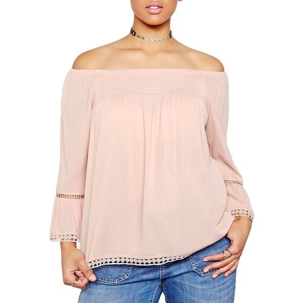 Addition Elle Love And Legend Women's Off-The-Shoulder Lace Top ($27) ❤ liked on Polyvore featuring tops, dusty rose, pink pullover, lace off the shoulder top, lacy tops, off shoulder tops and off shoulder long sleeve top