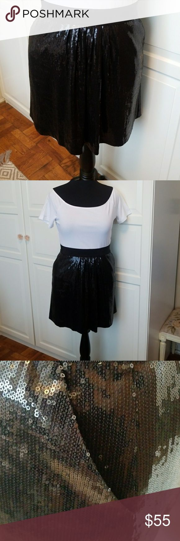 Ann Taylor sequin mini skirt Black sequin mini skirt.  Elastic waist and pockets.  Small sequin with almost liquid look Ann Taylor Skirts Mini