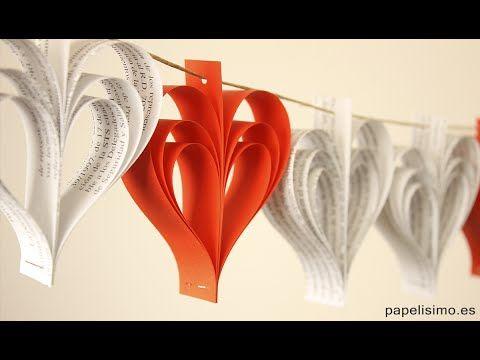 Guirnalda de papel de corazones. Manualidades fáciles con papel - YouTube