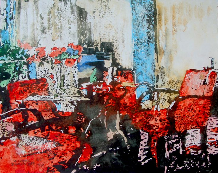 "red chair interior, paris 13"" x 17""  micheal zarowsky / watercolour on arches paper / available $450.00"