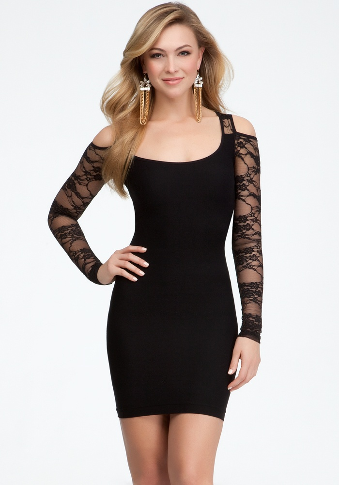 Cold Shoulder Lace Inset Dress - Blk - M/L