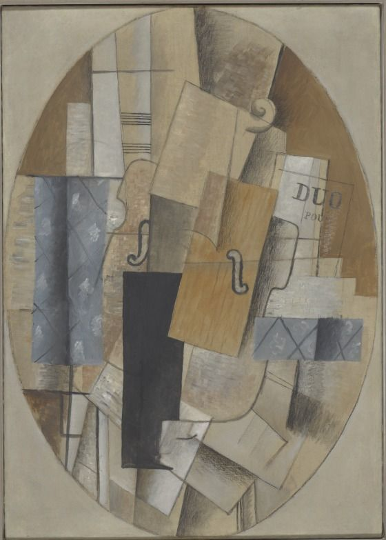 Still Life with Violin Georges Braque (France, 1882-1963) France, 1913 Paintings Oil on canvas Overall: 36 1/2 x 26 in. (92.71 x 66 cm) Frame: 44 × 33 1/2 × 3 1/2 in. (111.76 × 85.09 × 8.89 cm) Purchased with funds provided by the Mr. and Mrs. George Gard de Sylva Collection and the Copley Foundation (M.86.128) Still Life with Violin is a transitional work between the two phases of Cubism, the Analytic and the Synthetic.