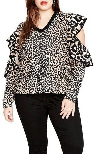 Rachel Roy RACHEL BY RACHEL Ruffle Sleeve Leopard Sweater