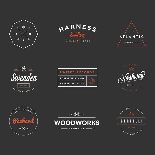 Hipster Vintage Logo Pack, some nice shapes, borders etc