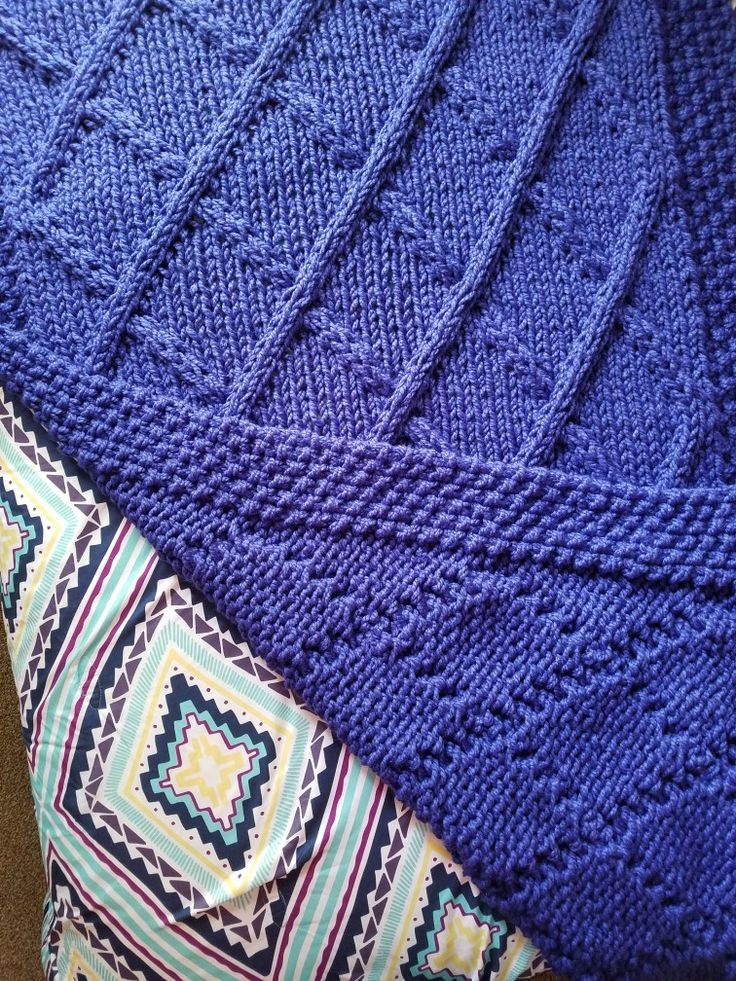 """Lattice Cable Knit Blanket- """"Cobalt"""""""
