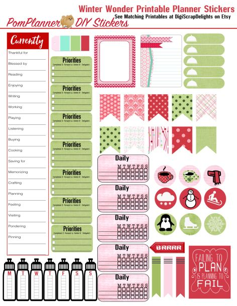 Free Printable Planner Stickers from the #pomplanner fits ec and happy planners BibleJournalingdigitally.com