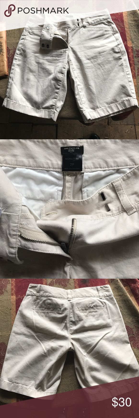Ann Taylor light cream shorts All buttons and clips in tact. No stains and in New condition. Ann Taylor Shorts Bermudas