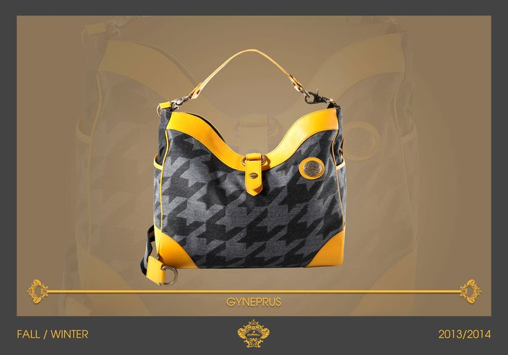 Gyneprus is a wide and handy bag of the next Fall Collection. The macro pied de poule in matching grey shades gives it a pop and young look. The classic shape of this casual bag is enriched by the yellow leather details and the middle closure. #orobiancoessere