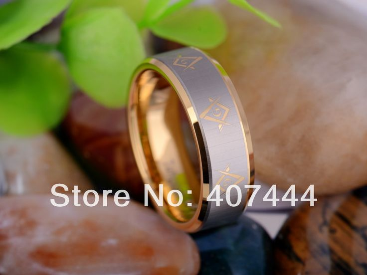 buy free shipping ygk jewelry hot sales 8mm gold color freemason masonic master mens tungsten carbide #masonic #rings