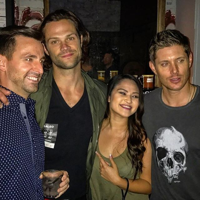 Jared and Jensen with fans at San Jac Saloon in Austin last night