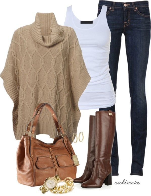 Coffee Outfit Idea with Jeans for 2015. I ♥ the poncho and the bag