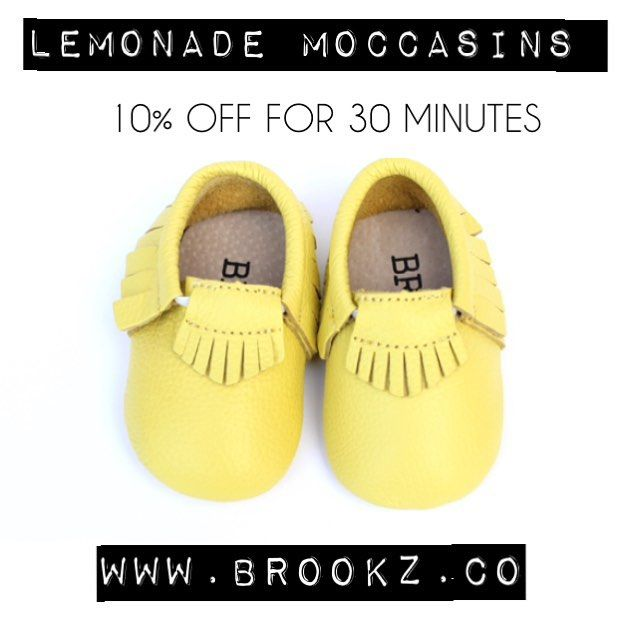 *drum roll* so happy to finally be introducing the lemonade moccasins!!! These genuine leather mocc's are the first to join the Brookz collection, they're the perfect pop of colour and totally unisex! They'll be 10% off for 30 minutes only starting NOW! (no code necessary) Head over to ✖️www.brookz.co✖️ to grab yours! #Brookz#moccasin#sale#kids#baby#shoes#fashion#style#new