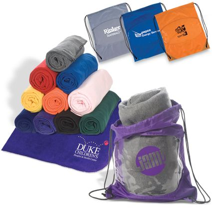 This fleece blanket in a bag combo is always a hit as a favor! Brand both blanket and bag! Contact amy@eagleeyepromotions.com to design yours today!