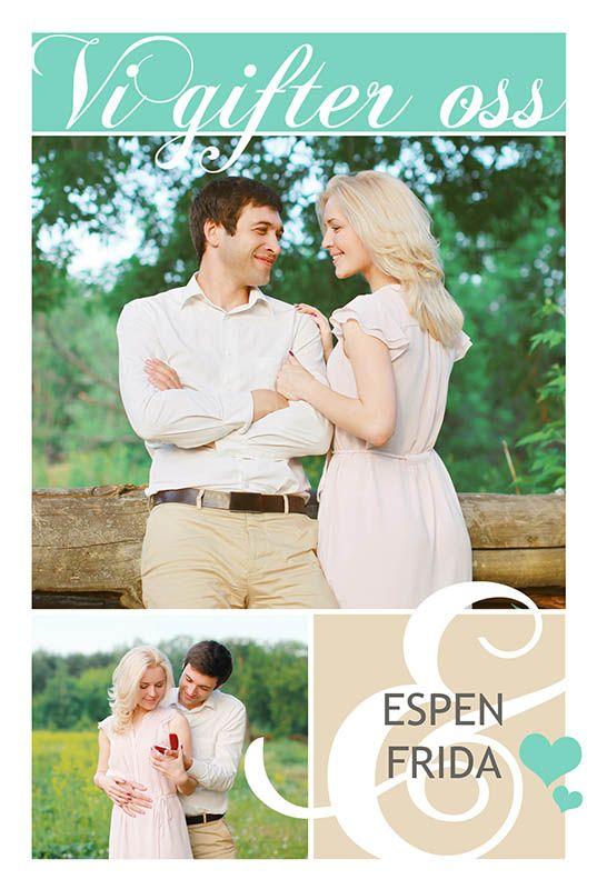Fotokort: invitasjon bryllup. http://eurofoto.no/produkter/kort-og-skrivesaker/