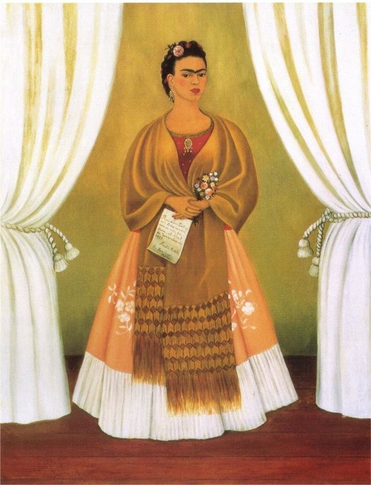 Self Portrait Dedicated to Leon Trotsky (Between the Curtains) by Frida Kahlo…
