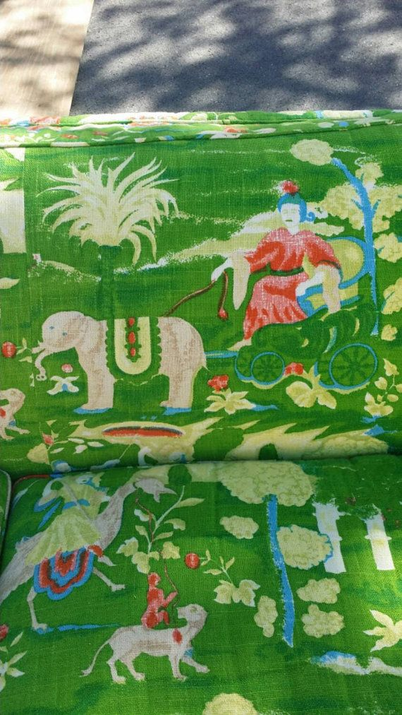 BOB COLLINS -Vintage kelly green chinoiserie elephant couch