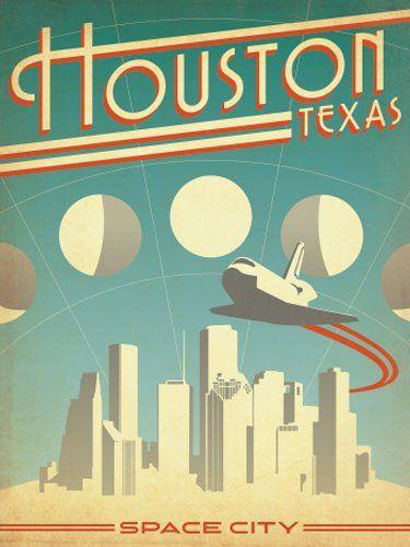 Questa locandina fantastica in stile anni '70, raffigura la promozione della città di Houston, in Texas, come città spaziale, per via del famoso Space Center della Nasa. I colori usati sono molto spenti, e lo stile richiama decisamente quello che nell'america degli anni 70/80 andava molto di voga. Questa l'ho trovata interessante semplicemente perchè è uno stile che ho sempre apprezzato.