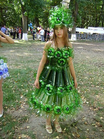 Dress made from plastic pop bottles