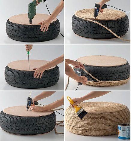 DIY Rope Tire Ottoman | Home Design, Garden & Architecture Blog Magazine
