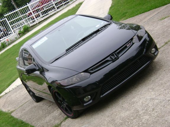 blacked out lights honda civic black. Don't really like the black H emblem
