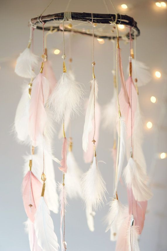 Dreamcatcher Mobile Pink and White by DreamkeepersLLC on Etsy