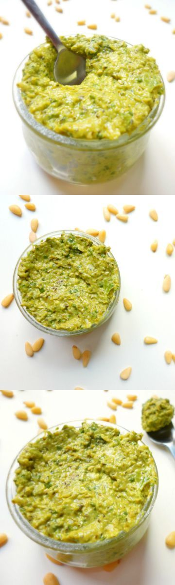 This roasted broccoli vegan pesto tastes delicious on just about anything! A healthier and lower oil version of traditional pesto. #GLUTENFREE #VEGAN #HEALTHY