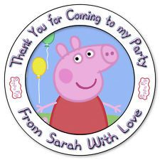 Personalised Peppa Pig Stickers Birthday Party Thank You Sweet Cones Label Seals