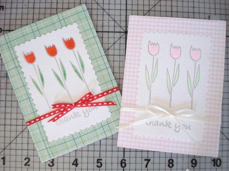 45.お花のスタンプと3-Dインクペンを使ってThank youカード   簡単手作りカード                                             Chocolate Card Factory