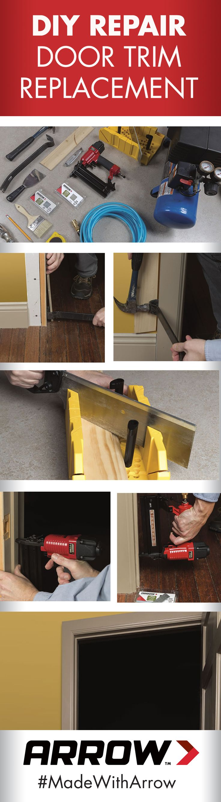 Learn how to replace damaged door trim and stop with Arrow's PT18G Pneumatic Brad Nailer. www.arrowfastener.com