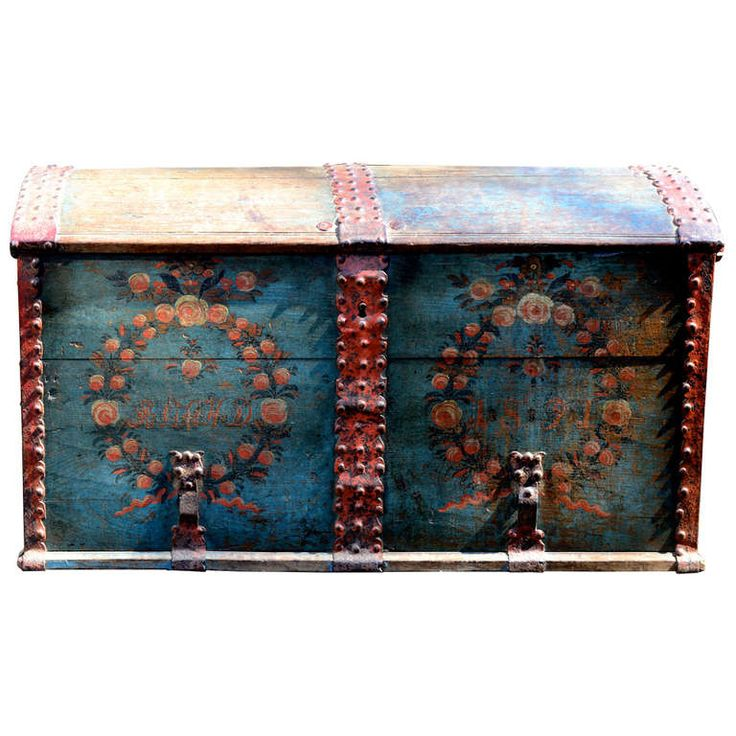 Early 19th Century Swedish Dometop Swedish Trunk | From a unique collection of antique and modern trunks and luggage at http://www.1stdibs.com/furniture/more-furniture-collectibles/trunks-luggage/