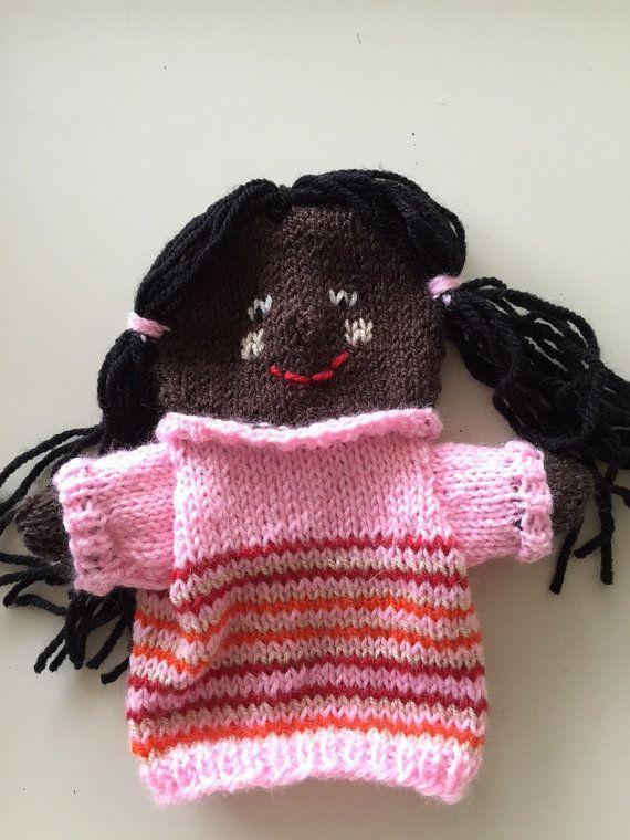 Zwart meisje met staartjes en streepjes trui handpop door HandDoll