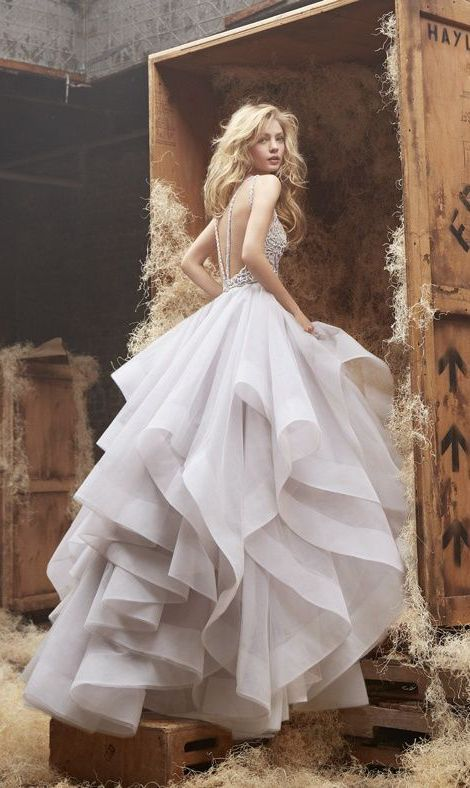 Alabaster tulle bridal gown with open back