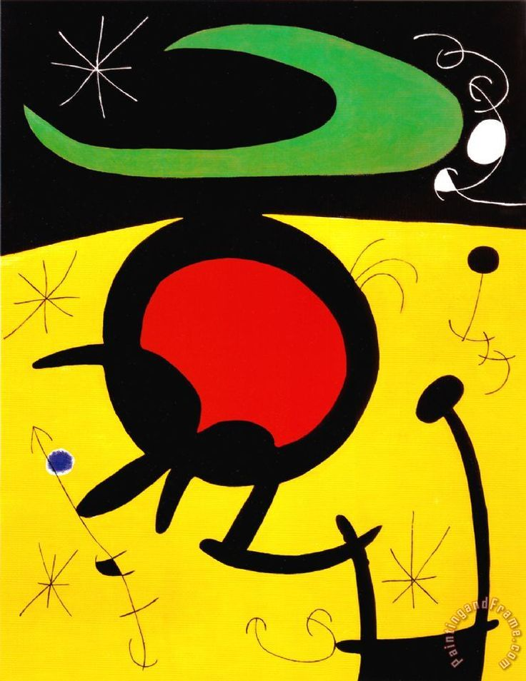 Vuelo De Pajaros 1968 Painting by Joan Miro