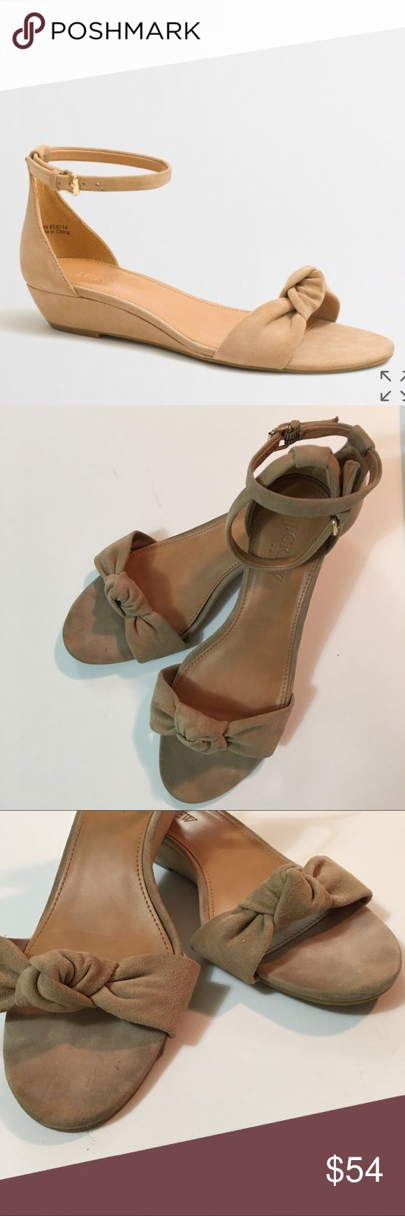"J.Crew Nude Demi-Wedge Suede Top Knot Sandals 6.5 J.Crew Women's Nude Beige Demi-Wedge Suede Top Knot Sandals Size 6.5 Summer Toe to heel length 9"". Heel height 1"". Slight discoloration on heels but overall excellent condition J. Crew Shoes Sandals"