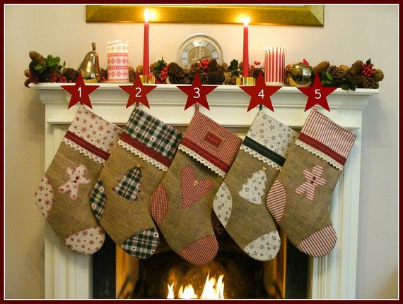 Personalised Christmas stocking, Christmas stocking, burlap, handmade, rustic, nordic, scandinavian, holidays, red, green, traditional