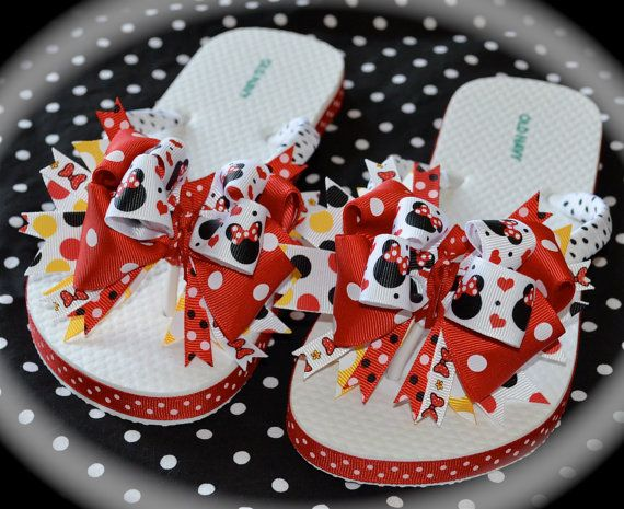 Custom Boutique Girls Toddler Disney  Vacation Red and Black MINNIE MICKEY MOUSE Ribbon Flip Flops  FrEe Shipping
