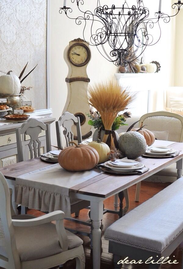 fall decor in a shabby chic dining room woodworking