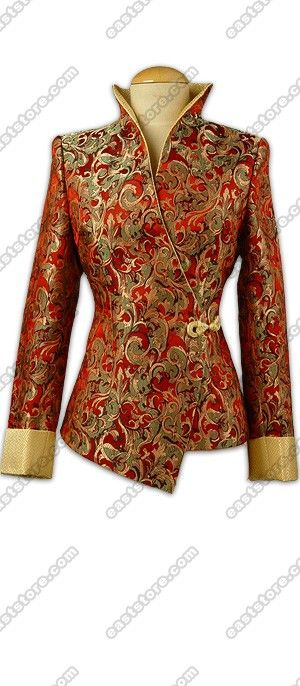 Prosperous Leaves Patterned Brocade Jacket : EastStore.com