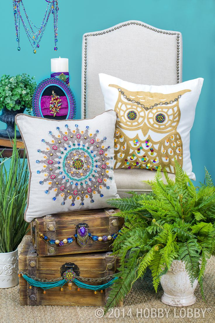 We took these already gorgeous pillows (fabric department) and dazzled them up with sparkling embellishments for a custom design.