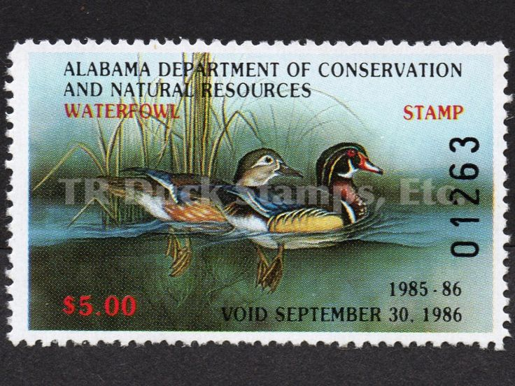 Alabama Waterfowl Stamps, Collectible Duck Hunting License Habitat Conservation, 1979 through 1996