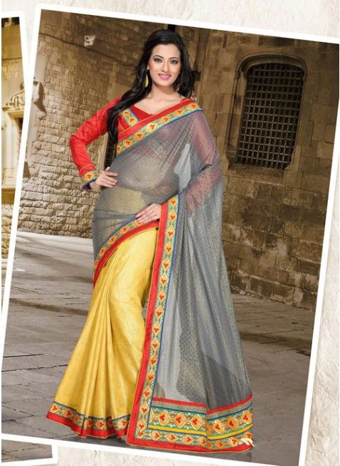 Butta Gray & Yellow Embroidered #Saree With Resham Work #clothing #fashion #womenwear #womenapparel #ethnicwear