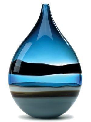 16. Blue Drop Vase - 42 #Gorgeous Pieces of Art Glass to #Appreciate ... → #Lifestyle [ more at http://lifestyle.allwomenstalk.com ]  #Nouveau #Beautiful #Marbles #Glass #Source