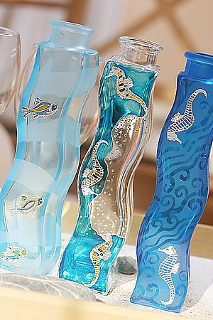 Vases | Hand painted stained glass.