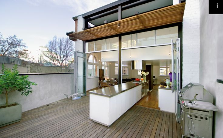 Split kitchen, which goes both indoors and outdoors! Cool!