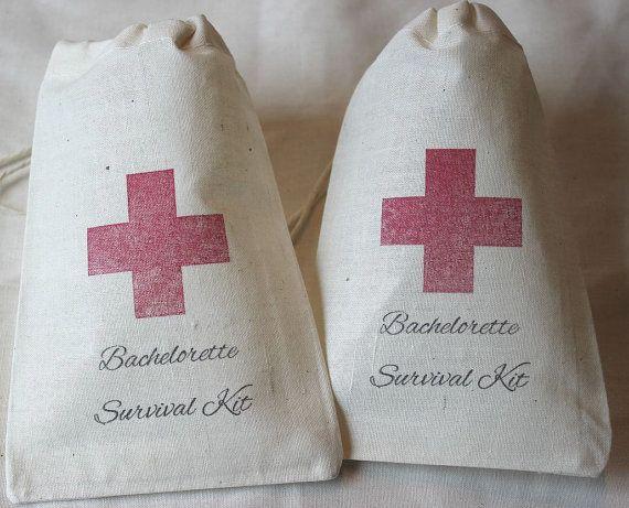 10 Bachelorette Survival Kit / Red Cross - Organic Cotton Drawstring Bags - Great for Bachelorette 4x6 inch. $15.00, via Etsy.