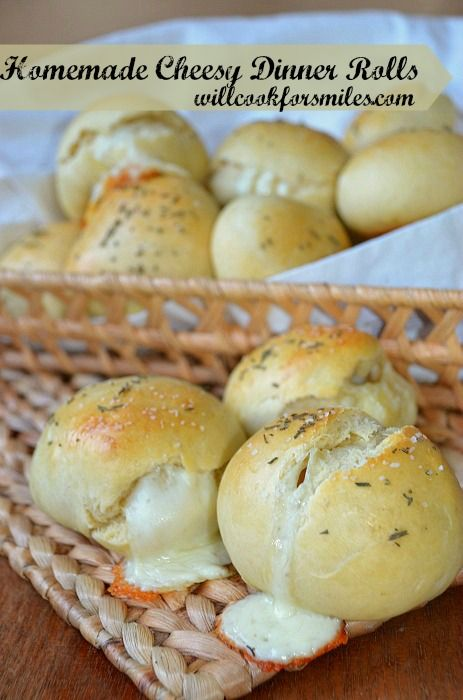 Homemade Cheesy Dinner Rolls.   These dinner rolls are stuffed with cheese and sprinkled with rosemary and coarse salt, yum!