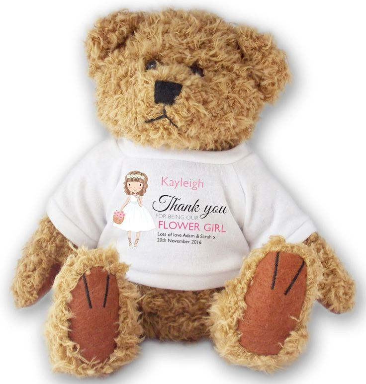 #Personalised flower girl #wedding teddy bear thank you gift - #ted13,  View more on the LINK: http://www.zeppy.io/product/gb/2/282255878778/