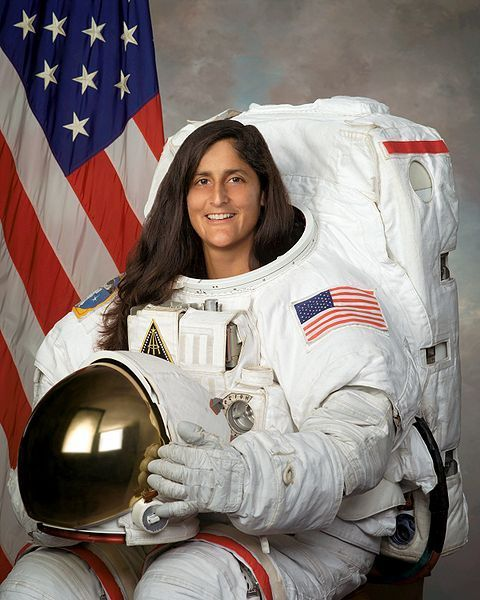 Sunita Williams, US Navy diver, helicopter pilot, astronaut, ISS commander. She holds the records for longest single space flight by a woman (195 days), total spacewalks by a woman (seven), and most spacewalk time for a woman (50 hours, 40 minutes), and is only the second woman to be Commander of the International Space Station http://en.wikipedia.org/wiki/Sunita_Williams
